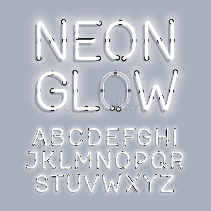 Het witte alfabet van de Neongloed royalty-vrije illustratie