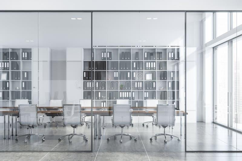 Het witte binnenland van de conferentieruimte met glasdeuren vector illustratie