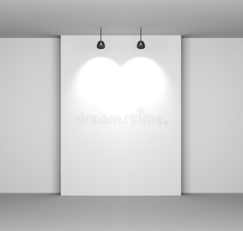Het Witte Binnenland van het album met Lege Bureau en Lampen royalty-vrije illustratie