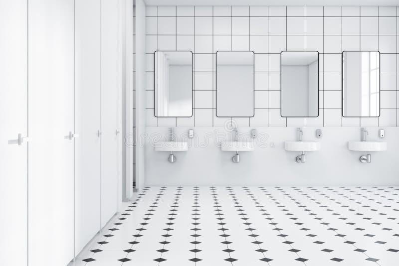 Het witte binnenland van het muur openbare toilet, gootstenen royalty-vrije illustratie