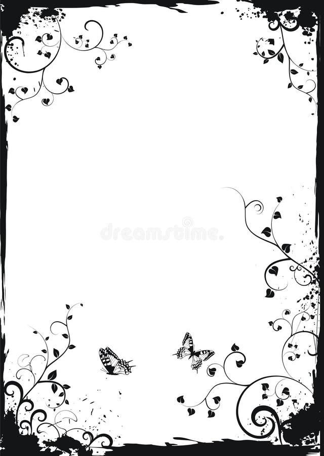 Het witte bloemenframe van Grunge met vlinders royalty-vrije illustratie