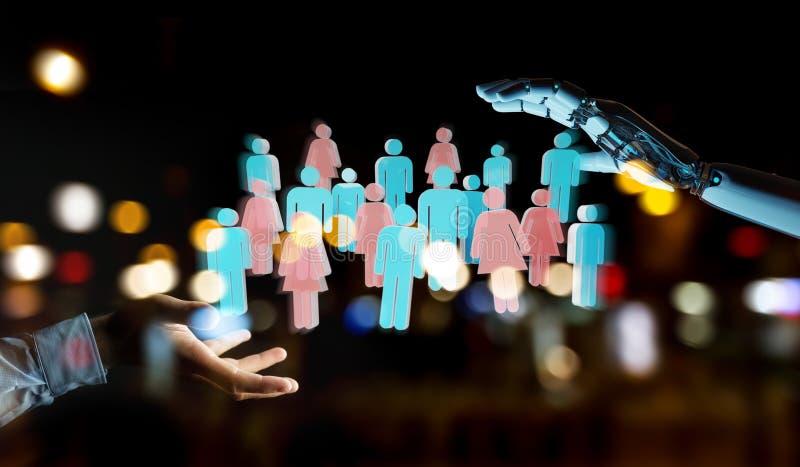 Het witte controlerende de groep van de cyborghand mensen 3D teruggeven royalty-vrije illustratie