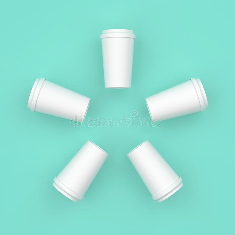 Het witte creatieve minimale ontwerp van de koffiekop stock afbeelding