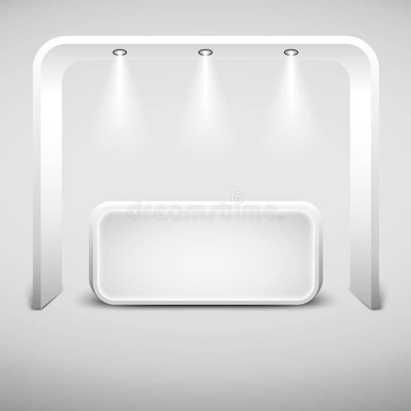 Het witte creatieve ontwerp van de tentoonstellingstribune Lege vectorcabine Vector eps10 vector illustratie