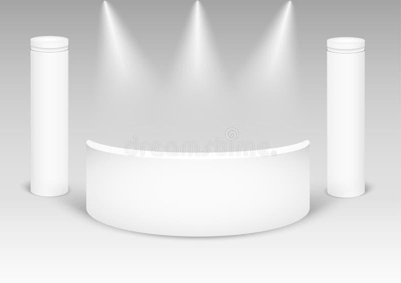 Het witte creatieve ontwerp van de tentoonstellingstribune Lege vectorcabine Vector eps10 stock illustratie