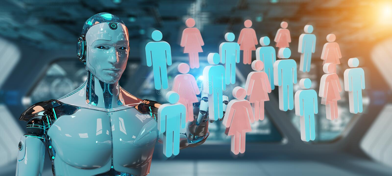 Het witte cyborg controlerende groep mensen 3D teruggeven royalty-vrije illustratie