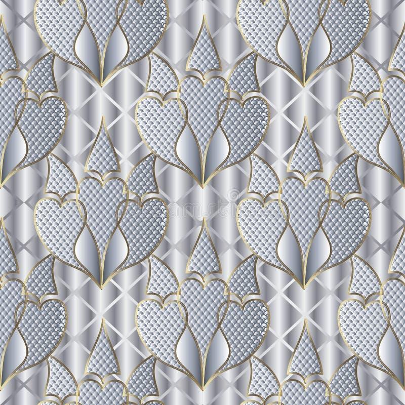 Het witte 3d geweven bloemen vector naadloze patroon van Paisley Sier zilveren wafelachtergrond Kanttextuur uitstekend Paisley stock illustratie