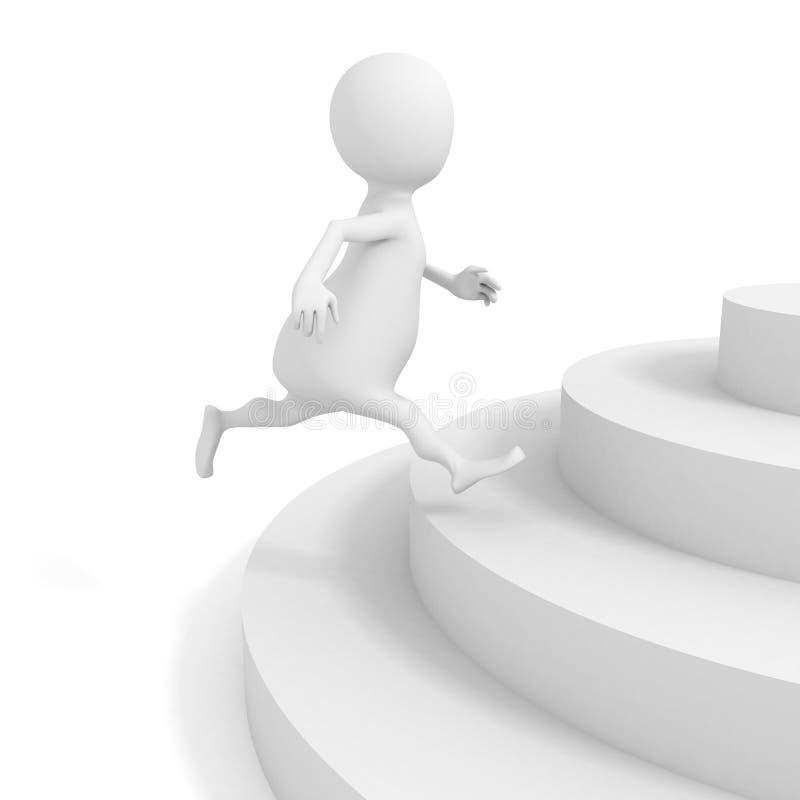 Het witte 3d mens lanceren op treden vector illustratie