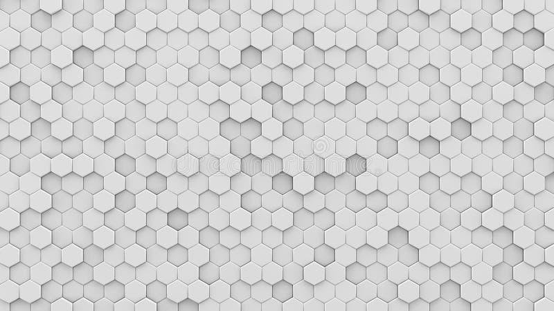 Het witte 3D zeshoekenmozaïek geeft terug royalty-vrije illustratie
