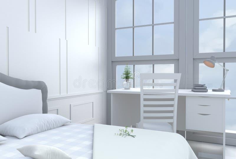 Het witte decor van de bedruimte met bureau en groot bed in gelukkige dag vector illustratie