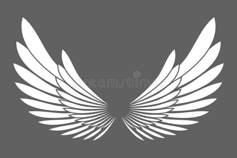 Het witte die silhouet van engelenvleugels op achtergrondontwerp wordt geïsoleerd eleme royalty-vrije illustratie