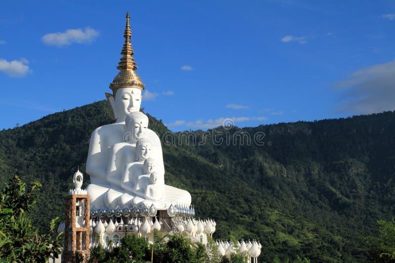 Het witte die Standbeeld van Boedha op de Berg wordt geplaatst stock afbeelding