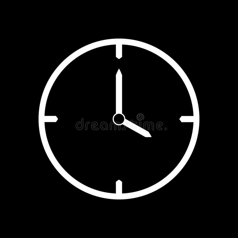 Het witte dunne pictogram van de lijnklok 4 uur - vectorillustratie stock illustratie