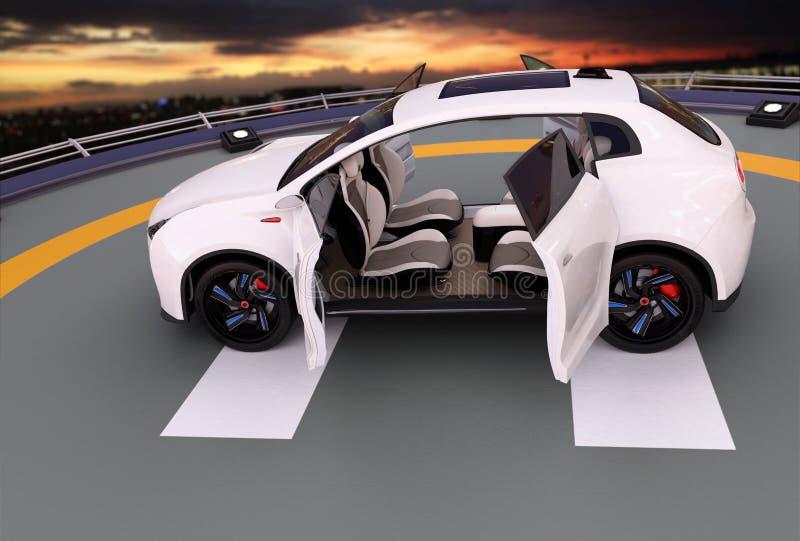 Het witte elektrische SUV-parkeren op de helihaven royalty-vrije illustratie