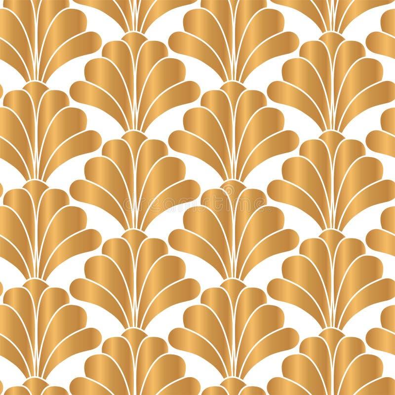 Het witte en Gouden Naadloze Patroon van Art Deco Gatsby Style Floral royalty-vrije illustratie