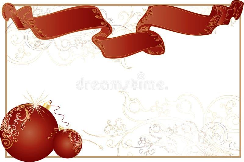 Het witte Frame van Themed van Kerstmis met Ballen en Lint vector illustratie