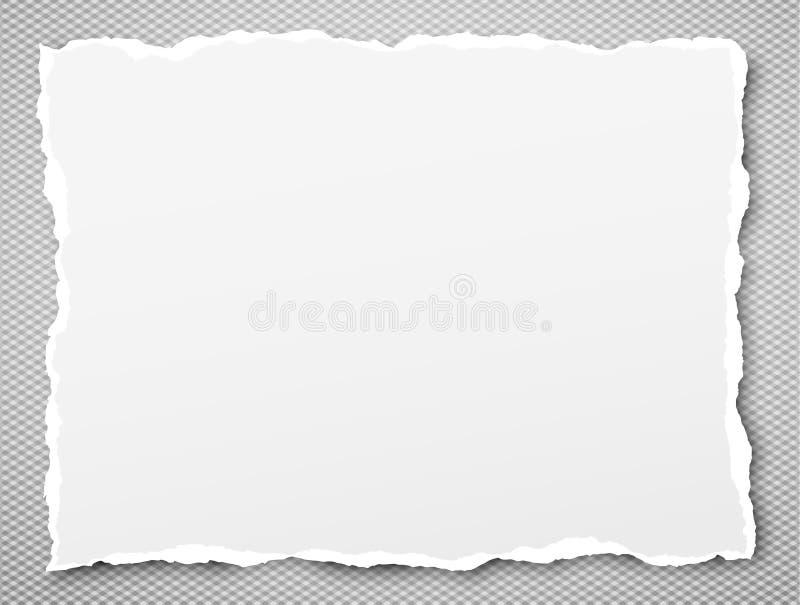 Het witte gescheurde notitieboekjedocument, gescheurd notadocument plakte op grijze geregelde achtergrond met zachte schaduw Vect stock illustratie