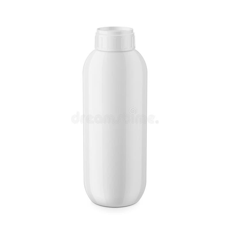 Het witte glanzende plastic malplaatje van de shampoofles stock illustratie
