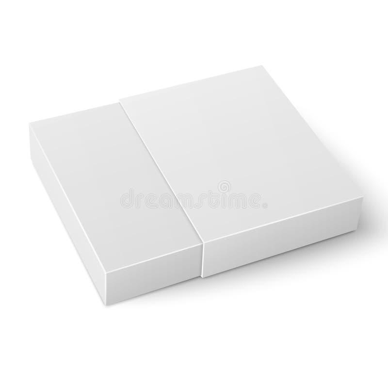 Het witte glijdende malplaatje van de kartondoos stock illustratie