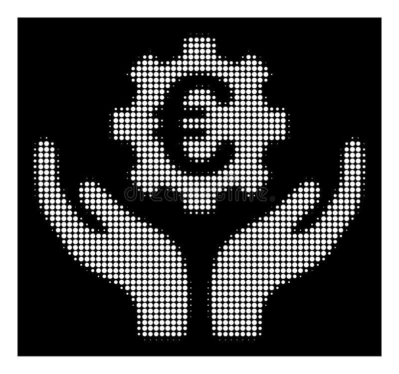 Het witte Halftone Euro Pictogram van Onderhoudshanden stock illustratie