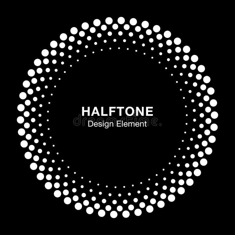 Het witte halftone vectorcirkelkader stippelt embleemembleem, ontwerpelement voor medisch, behandeling, schoonheidsmiddel royalty-vrije illustratie