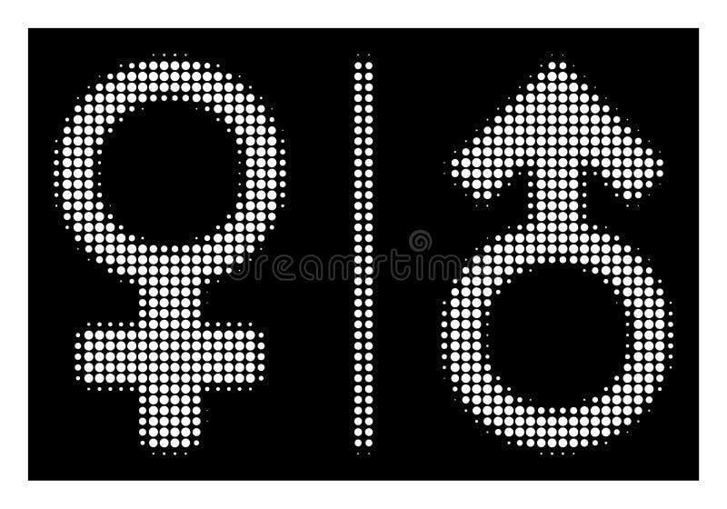 Het witte Halftone WC-Pictogram van Geslachtssymbolen stock illustratie