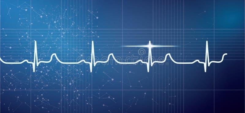 Het witte Hart sloeg het Ritme van het Impulselektrocardiogram op Blauwe Backgrou royalty-vrije illustratie