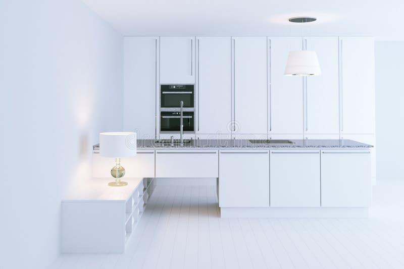 Het witte hi-tech 3d keuken binnenlandse ontwerp geeft terug royalty-vrije stock afbeeldingen