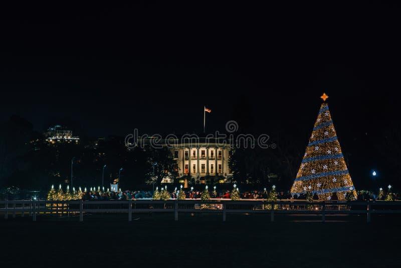 Het Witte Huis en de Nationale Kerstboom bij nacht, in Washington, gelijkstroom royalty-vrije stock afbeelding