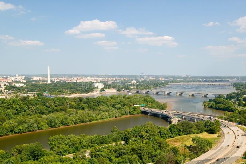 Het Witte Huis van Washington D C luchtmening met het Capitool van de V.S., Washington Monument, Lincoln Memorial en Jefferson Mo stock afbeeldingen