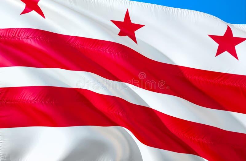 Het Witte Huis van Washington D C Vlag 3D het Golven de V.S. de vlagontwerp van de staat Het nationale symbool van de V.S. van Wa stock illustratie