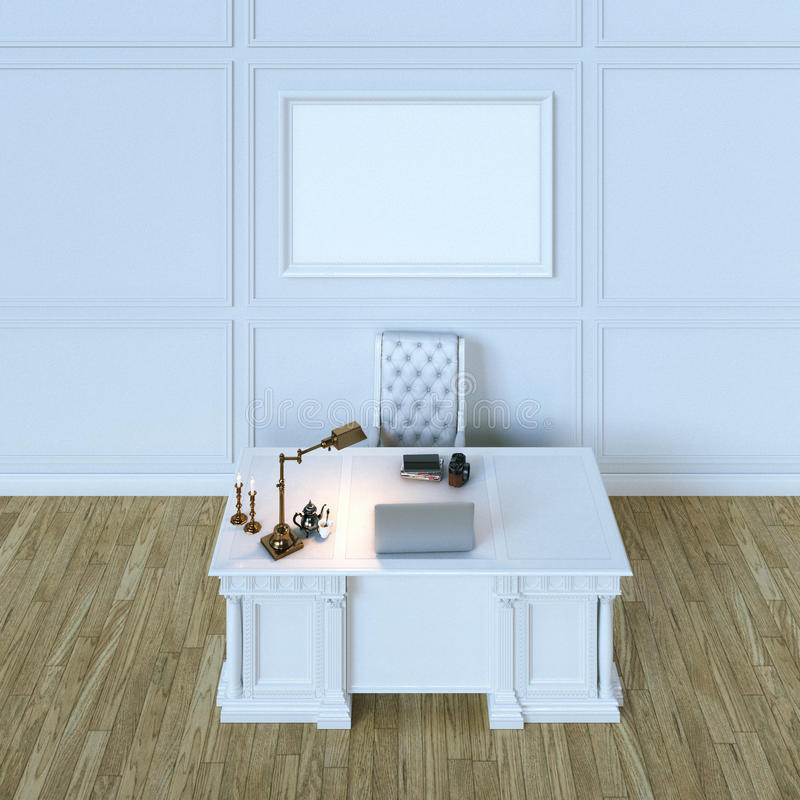 Het Witte Kabinet.Het Witte Kabinet Van Het Luxe Houten Bureau Met Spot Op