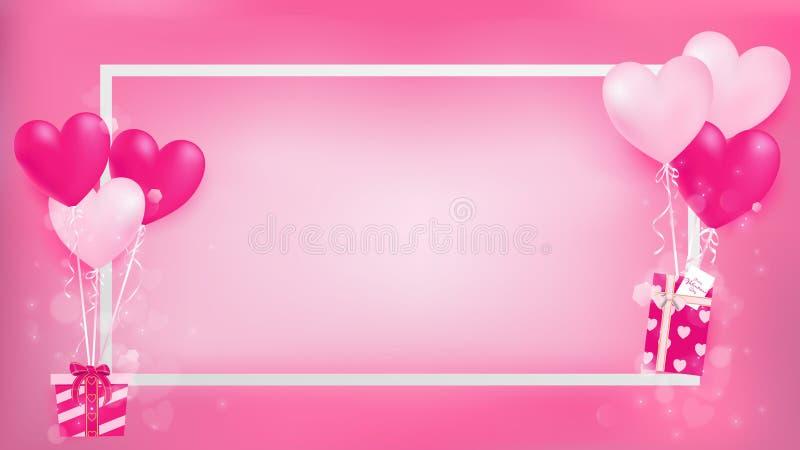 Het witte kader van de grensvalentijnskaart ` s met magische ballon stock illustratie