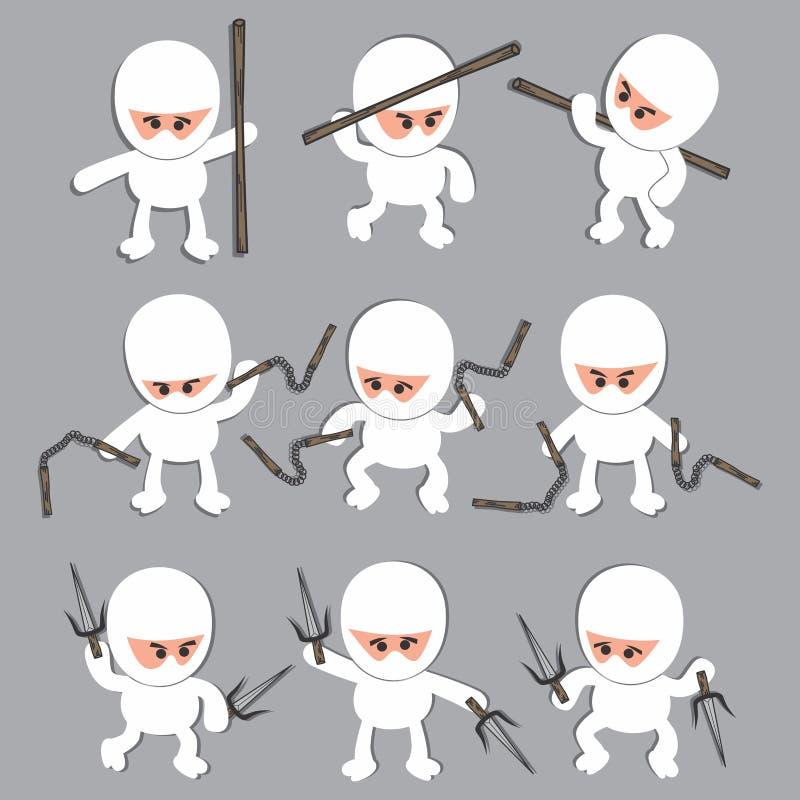 Het witte karakter van het ninjabeeldverhaal stock illustratie