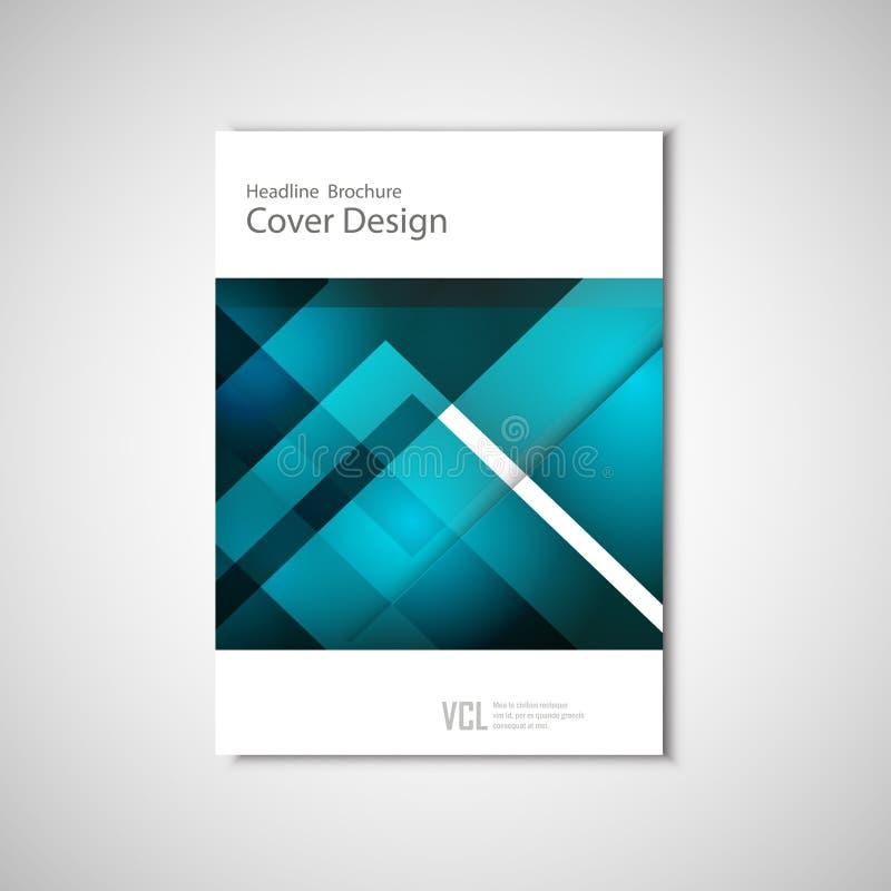 Het witte klassieke vectorontwerp van het brochuremalplaatje met blauwe geometrische elementen royalty-vrije illustratie