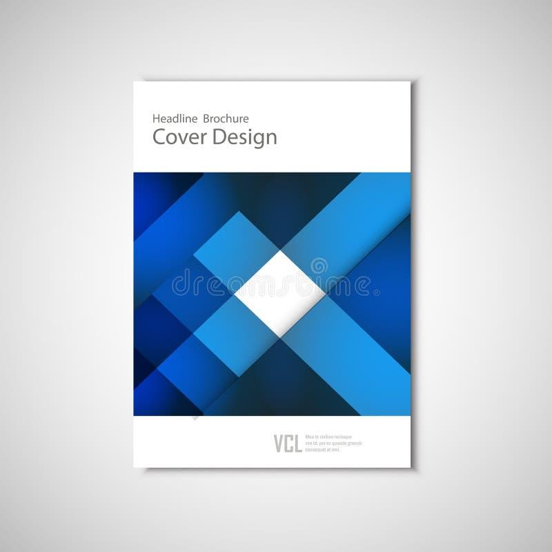 Het witte klassieke vectorontwerp van het brochuremalplaatje met blauwe geometrische elementen vector illustratie