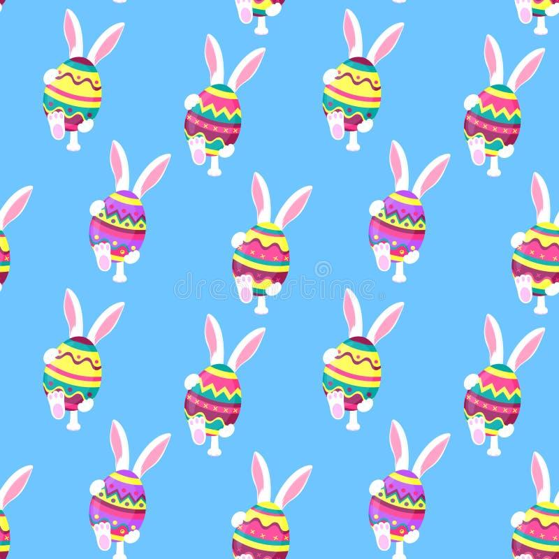 Het witte konijn loopt Het konijntje houdt in zijn poten een paasei Feestelijke achtergrond voor Pascha stock illustratie