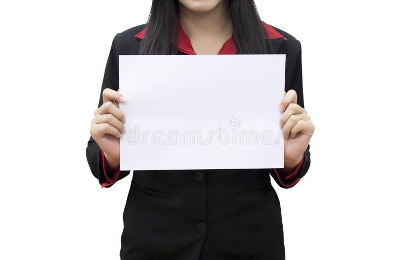 Het witte lege document van de bedrijfsvrouwengreep royalty-vrije stock foto's