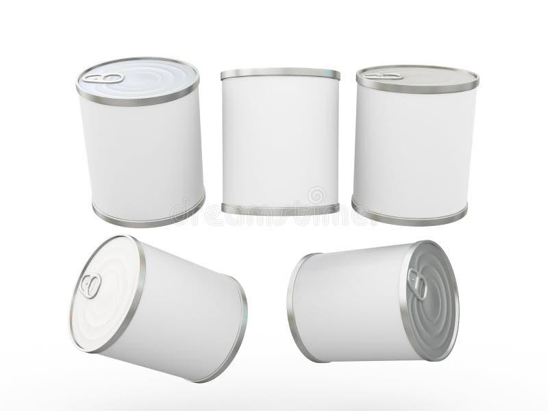 Het witte lege etiketvoedsel kan met trekkracht van labels voorzien, het knippen omvat de weg vector illustratie