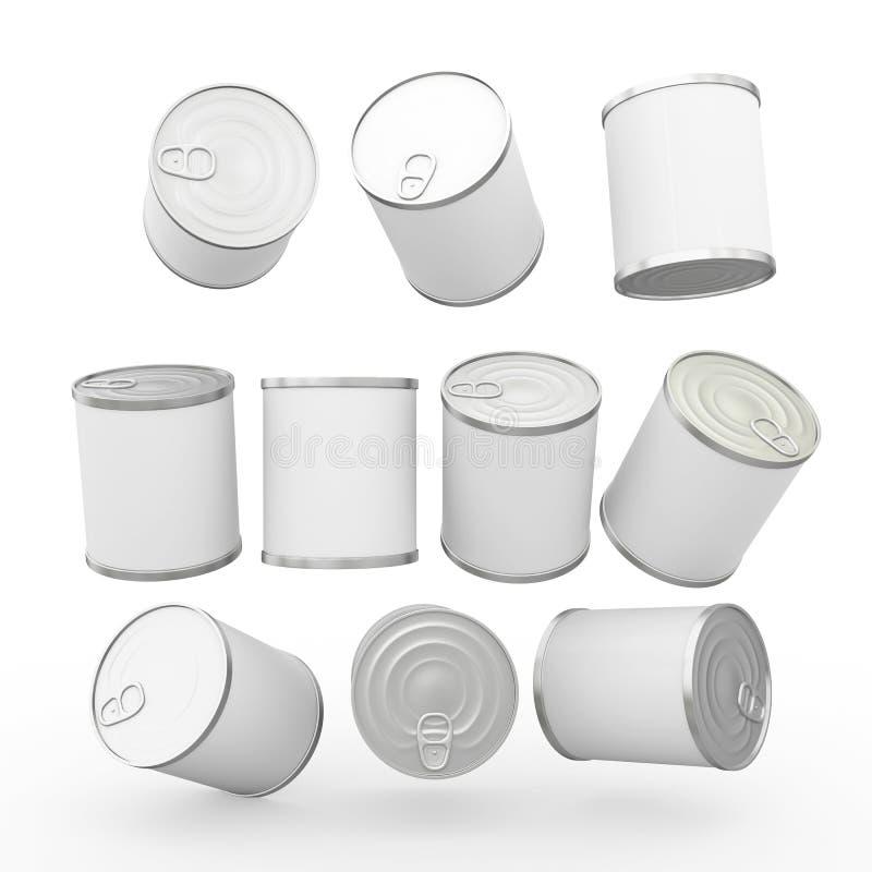 Het witte lege etiketvoedsel kan met trekkracht van labels voorzien, knippend inbegrepen weg stock illustratie