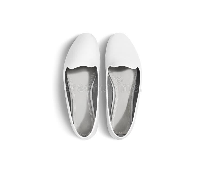 Het witte lege geïsoleerde model van vrouwenschoenen, hoogste mening, het knippen weg royalty-vrije stock foto