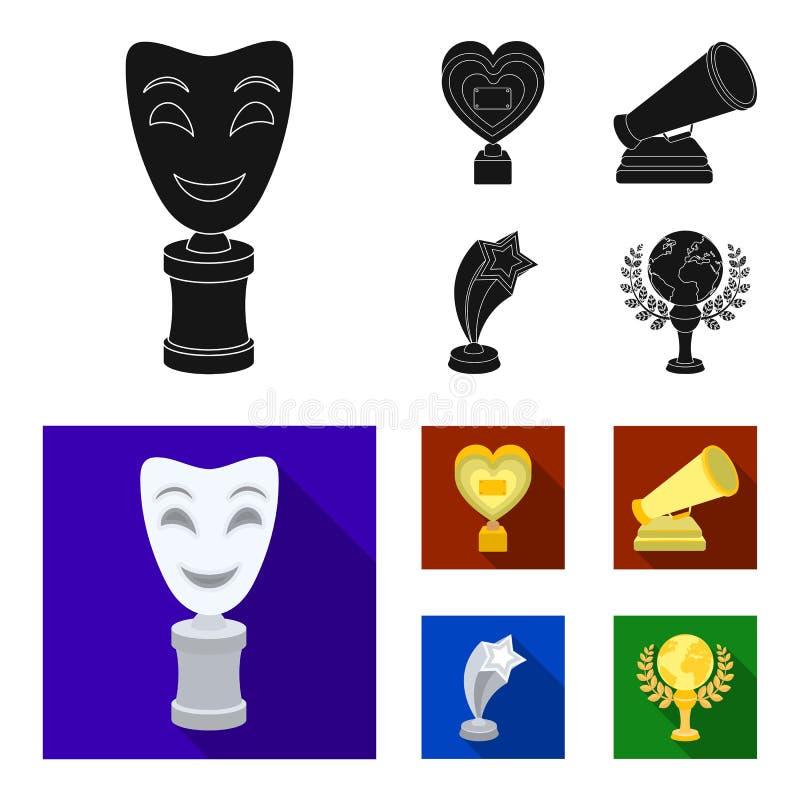 Het witte Masker bootst voor het beste drama, een prijs in de vorm van het hart en andere prijzen na Filmtoekenning geplaatst inz stock illustratie