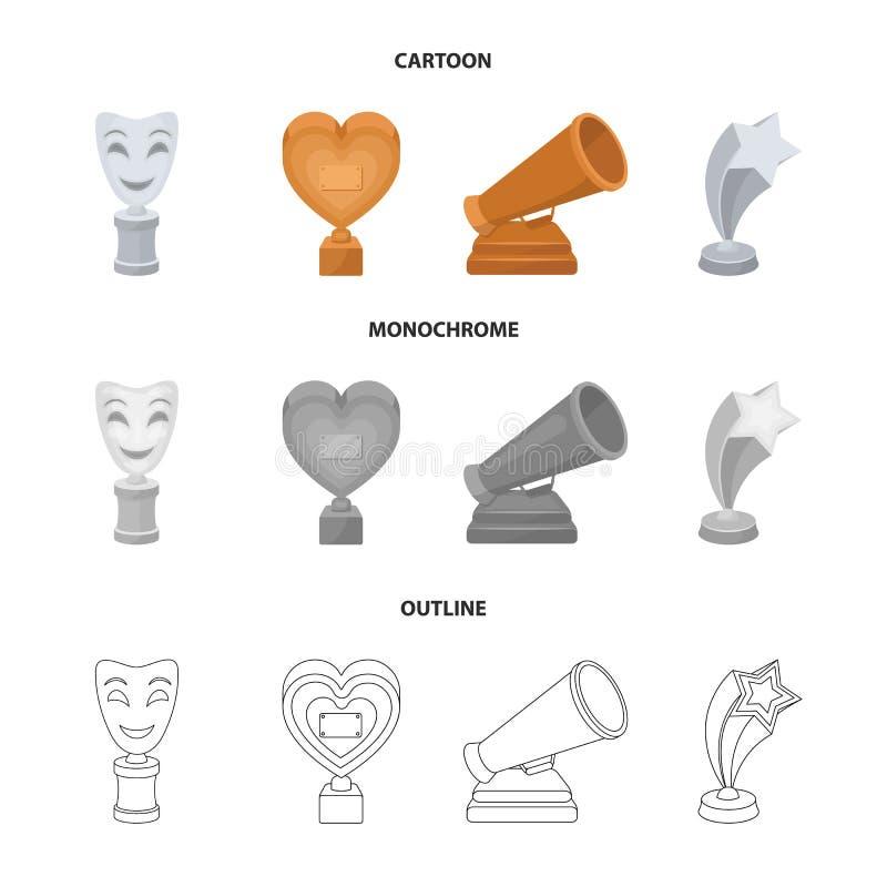 Het witte Masker bootst voor het beste drama, een prijs in de vorm van het hart en andere prijzen na Filmtoekenning geplaatst inz royalty-vrije illustratie