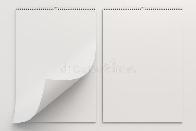 Het witte model van de muurkalender op witte achtergrond stock afbeeldingen