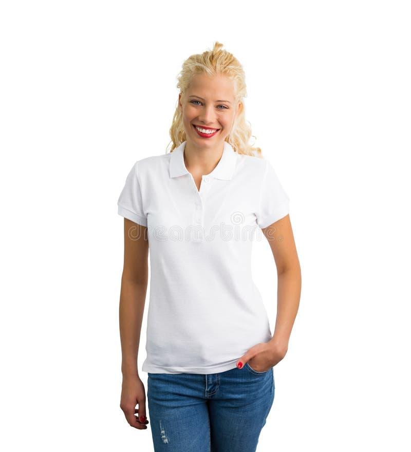 Het witte model van het polooverhemd stock foto