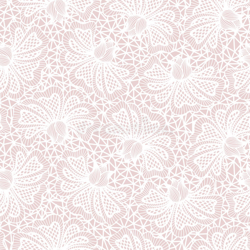 Het witte naadloze patroon van het bloemkant stock illustratie