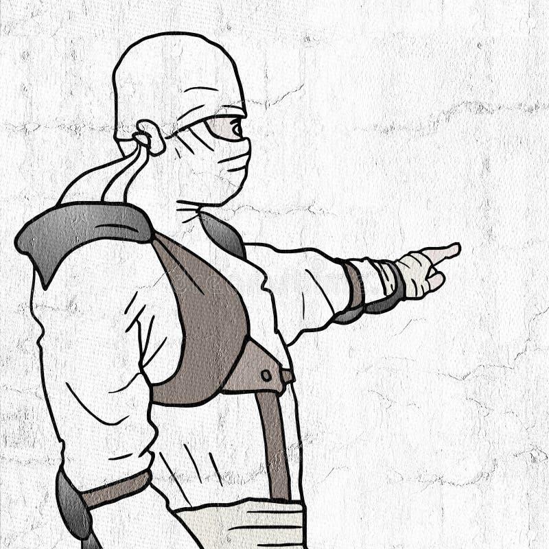 Het witte ninja richten royalty-vrije illustratie