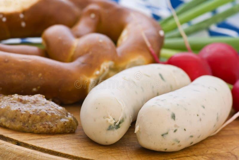 Het witte Ontbijt van de Worst royalty-vrije stock foto