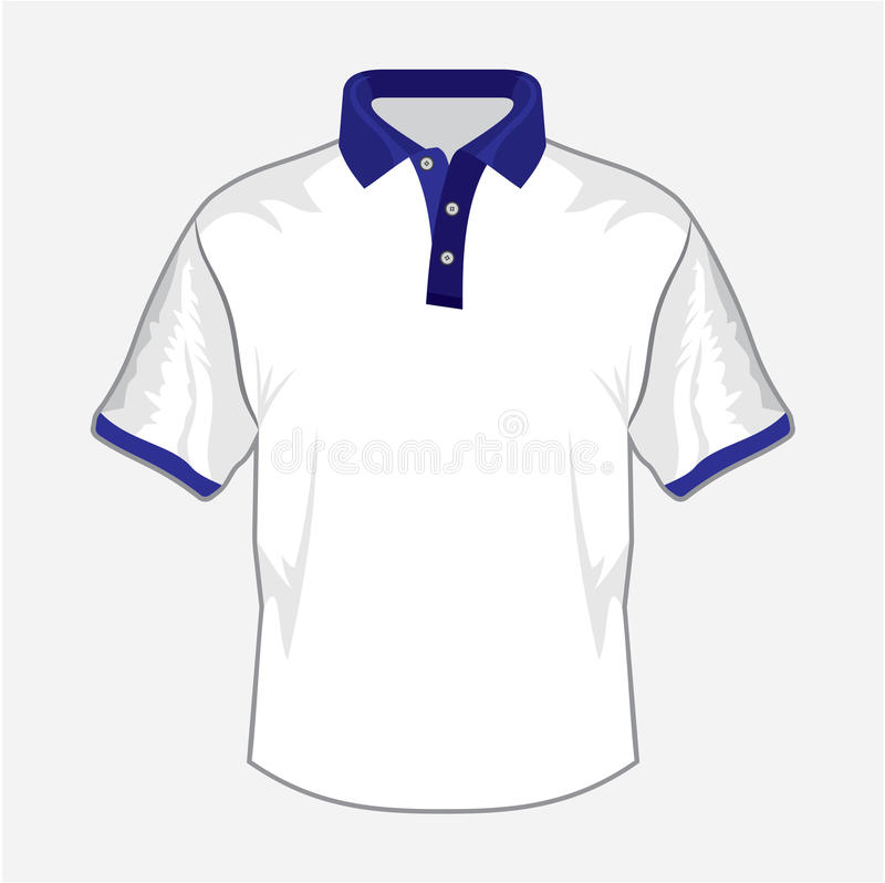 Het witte ontwerp van het polooverhemd met donkerblauwe kraag royalty-vrije illustratie
