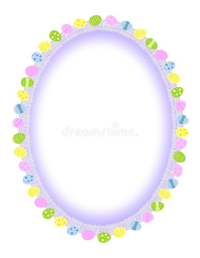 Het witte Ovale Frame of de Grens van Paaseieren royalty-vrije illustratie
